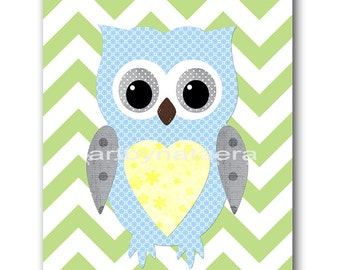 Owl Decor Digital Download Print Printable Art Instant Download Digital Kids Wall Art Baby Nursery Decor Baby Boy Nursery Print 8x10 11X14