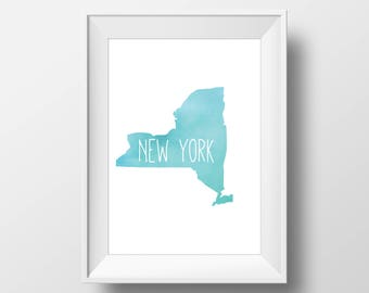 New York State Teal Watercolor Printable Art, New York Print, New York Art, Modern Art,