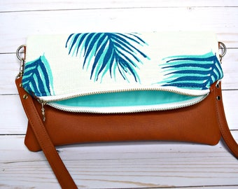 Ready to ship palm leaves foldover crossbody, foldover purse, tropical crossbody bag, vegan leather crossbody, faux leather crossbody bag