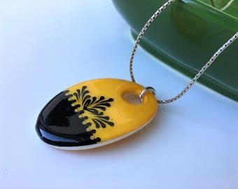 Pysanka Necklace, Ostrich Eggshell Pendant, Eggshell Unique Jewelry
