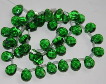 40 pcs of faceted flat briolette glass beads 8 x10mm  Dark green