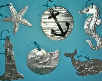 Ocean Christmas Ornaments Set of 6 Made from Aluminum Soda Cans