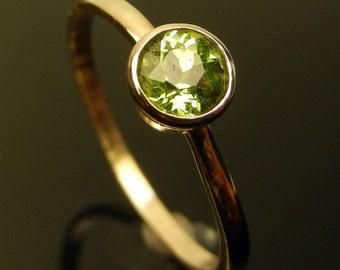 Bright Green Peridot, 5mm, Set in 14k gold