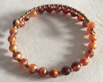 Ethical Boho Bracelet In Amber & Gold