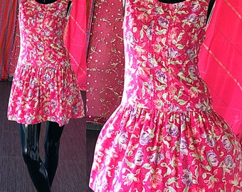 Laura Ashley Dress Vintage 80s Laura Ashley Floral Mini Great Britain Dress