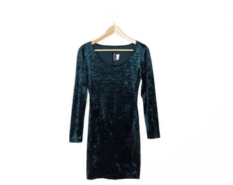Vintage 90s All That Jazz Green Crushed Velvet Bodycon Dress, Size S/M