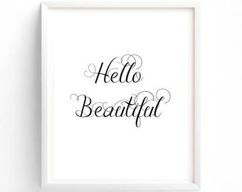 Printable Hello Beautiful, Calligraphy Font, Typography, Black and White, Love, Digital Art Print