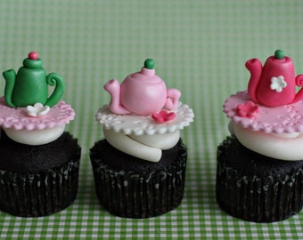 Fondant Tea Pot and Flower Toppers for Decorating Cupcakes or Cookies for Your Tea Party