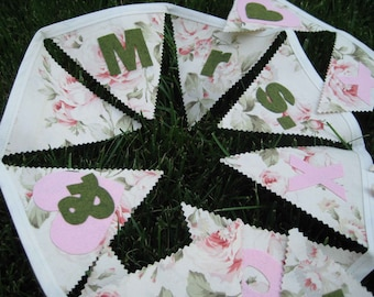SALE - Fabric MR. & MRS. Heart Floral Wedding or Party Bunting Flags