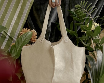 White Cream Suede Genuine Leather Tote Shoulder Handbag, Rectangular Base, Red Stitching Accents, Silver Rivets
