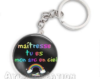Cabochons glass 25mm teacher Keychain #MH09