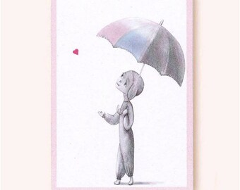 Love Droplet: whimsical love greeting card, soft pastel, heart, eco-friendly