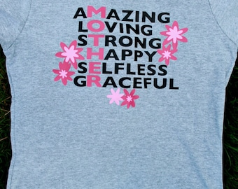 MOTHER AMAZING Loving Strong Selfless Graceful  Woman's Short Sleeve T Shirt Saying Graphic Gift Mothers