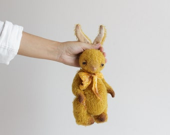 Made to order Gold Mohair Rabbit 9 Inches Easter Bunny Handmade Toy Plush Bunny Stuffed Animal Soft Toys Personalized Gift Artist Teddy Bear