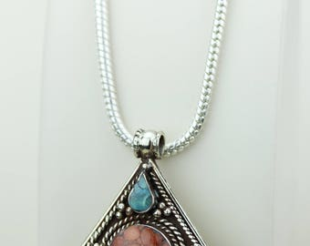 Small Size Turquoise Coral Native Tribal Ethnic Vintage Nepal Tibetan Jewelry OXIDIZED Silver Pendant + Chain P4263
