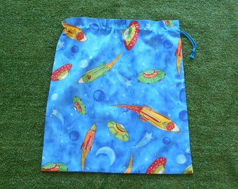 Drawstring library bag, spaceships and rockets, large toy bag or library bag