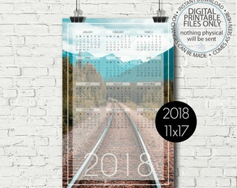 Printable Calendar 2018, Yearly Calendar Page, Yearly Wall Calendar, Mountains Wall Calendar, Calendar Poster, 11x17, Calendar Page, Tracks