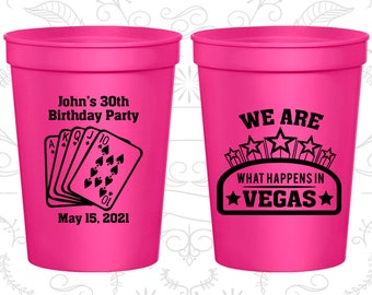 30th Birthday Party Cups, Personalized Birthday Favor Cups, Casino Birthday Cups, Vegas Birthday Cups, Birthday Party Cups (20263)