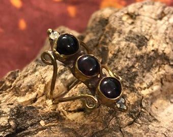Onyx Black Gemstone Ring/ Brass Ring/ Adjustable Boho Ring/ Tribal Jewelry/ Gypsy Rings/ Crystal Stone Ring/ Statement Ring/ Spiritual Rings