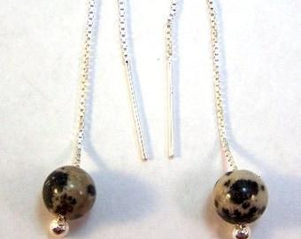 Dalmatian Jasper Beads on Sterling Silver Threader Earrings - 0099/2191