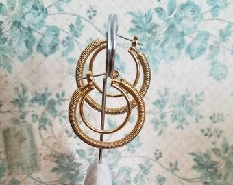 Double hoop earrings goldtone, vintage wire hoop earrings