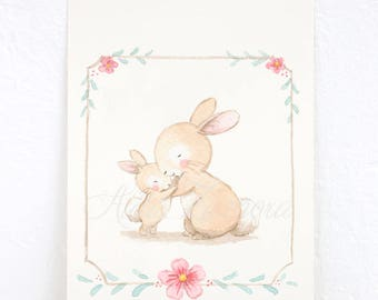 "Children's Art ""HUG BUNNIES"" Archival Print, Nursery Illustration."