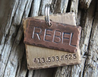 Dog ID Tag, The Rebel, Hand Stamped Dog Tag, Custom Pet ID, Layered Metal Tag