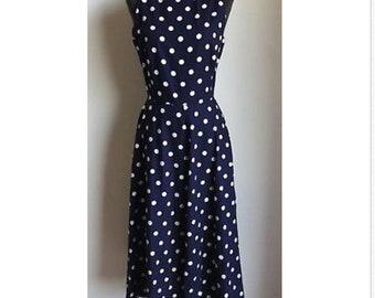 VINTAGE sz 4 RETRO 50's navy polkadot zipper back maxi pin up dress