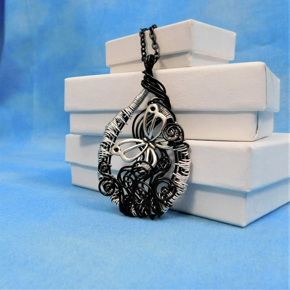Butterfly Necklace Unique Wire Wrapped Pendant Artisan Crafted Wearable Art Jewelry Graduation Birthday Anniversary Present Ideas for Women