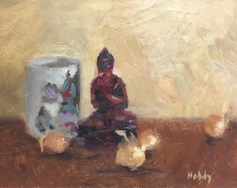 Original still life painting - buddha and pearl onions