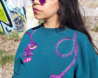 Hand Embroidered Repurposed Sweatshirt