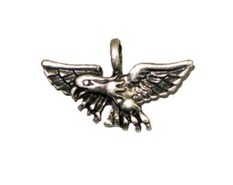 Pendant - Eagle Wings Spread Antique Silver Lead Free Nickel Free