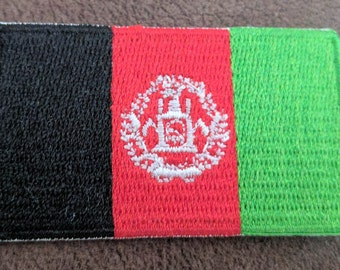 Small Afghanistan Flag Iron On Patch 2.5 x 1.5 inch Free Shipping