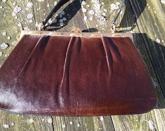 Pony Hair Handbag, Artmex  1950s Brown Ponyhair Leather,  Top Handle Handbag