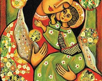 Virgin Mary Jesus child, Madonna child painting, religious painting, motherhood, Christian art, mother son, feminine decor print 8x12+