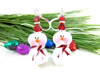 Snowman Earrings, Christmas Earrings, Red White Earrings, Holiday Earrings, Lampwork Earrings, Christmas Jewelry, Holiday  Roly Poly Snowmen