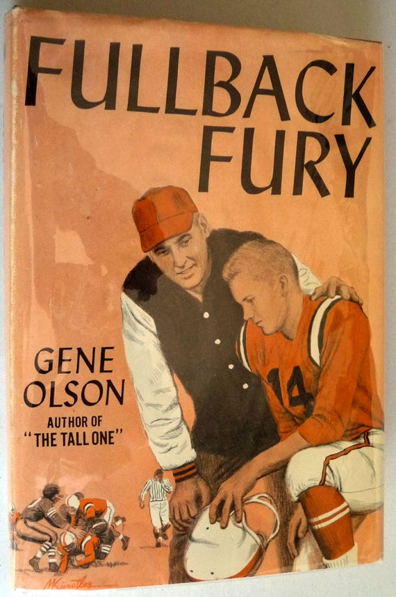 Fullback Fury 1964 by Gene Olson - Signed 1st Edition Hardcover HC w/ Dust Jacket - Football Sports YA Fiction