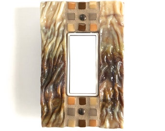 Brown Switch Plate, Light Switch Cover, Stained Glass, Wall Decor, Single, Mosaic Art, Beach House Decor, Decorative, Light Switch, 8997