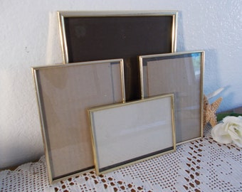Vintage Gold Picture Frame Collection Set Instant Photo Gallery Mid Century Hollywood Regency Shabby Chic Cottage Home Decor Wedding