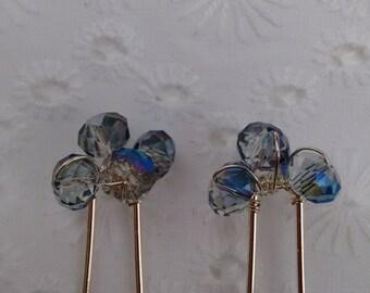 Blue wedding hair pins