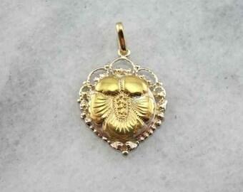 Fine Gold Antique Flower Pendant With Filigree UUF4FK-P