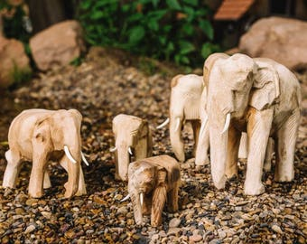 5-piece Complete wood Dekoelefant prop-family of Jamjuree-Wood
