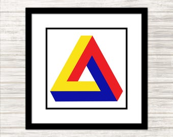 Penrose Triangle in Primary Colours - Impossible Geometries - Wall Art, Print, Poster, Printable PDF+JPG