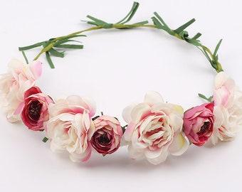 white flower crown, floral crown, flower headpiece, wedding headpiece, flower girl crown, bridal flower crown, bridal crown, bridal comb