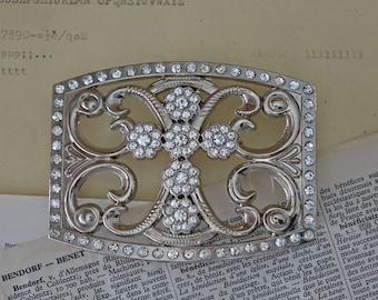 Vintage silver tone metal belt buckle Cross pattern in rhinestones