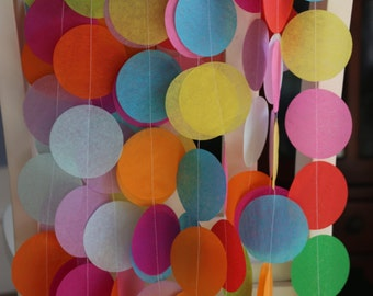 Tissue Paper Garland, Rainbow Garland, Party Garland, Birthday Garland, Wedding Garland, Photo Backdrop- Rainbow