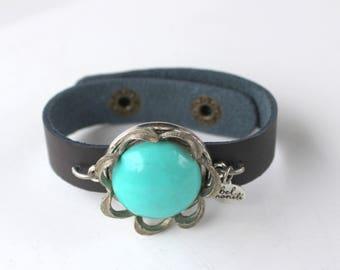 Aqua Bracelet, Turquoise Jewelry, Snap Bracelet, Leather Cuff, Cuff Bracelet, Vintage Bracelet, Recycled Bracelet, Upcycled, Boho Bracelet