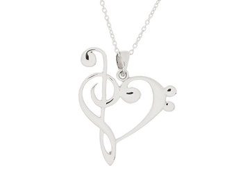 "Treble Bass Clef Heart (Reversible) W/ 18"" Cable Chain."