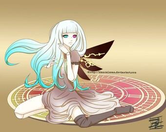 "Porcelain Art Print - 8""x10"" or 11x14"" - original anime manga clockwork steampunk - Bianca Loran Art"
