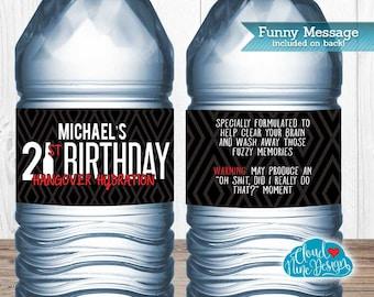 21st Birthday Water Bottle Labels - Guys Birthday - Beer Birthday- {Instant Download} Hangover Hydration, Printable 21st Birthday Decor